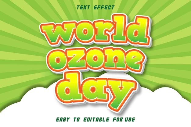 Efeito de texto editável do dia mundial do ozônio em relevo em estilo cômico