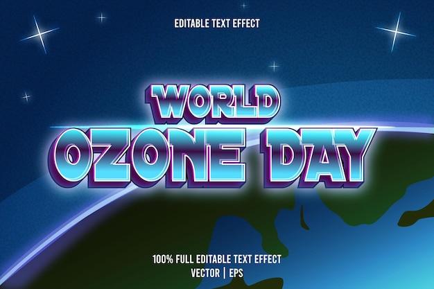 Efeito de texto editável do dia mundial do ozônio