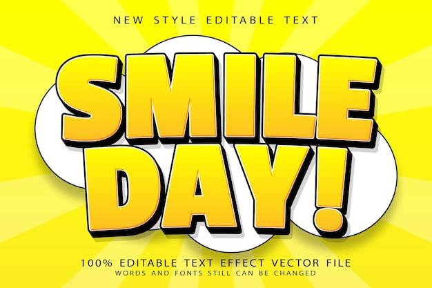 Efeito de texto editável do dia mundial do sorriso em relevo estilo cômico