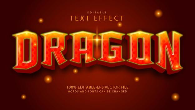 Efeito de texto editável do dragão