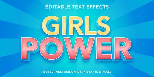 Efeito de texto editável do estilo girls power 3d