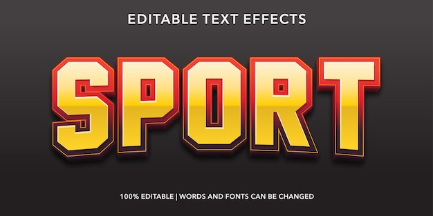 Efeito de texto editável do estilo sport 3d