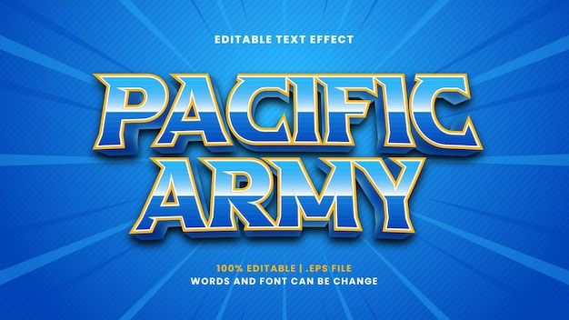 Efeito de texto editável do exército do pacífico em estilo 3d moderno