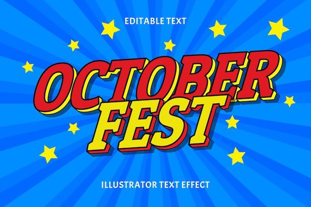 Efeito de texto editável do fest de outubro
