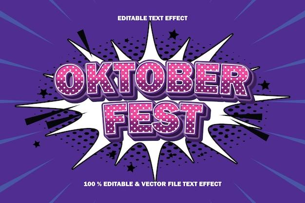 Efeito de texto editável do festival de outubro em relevo estilo quadrinhos de desenho animado