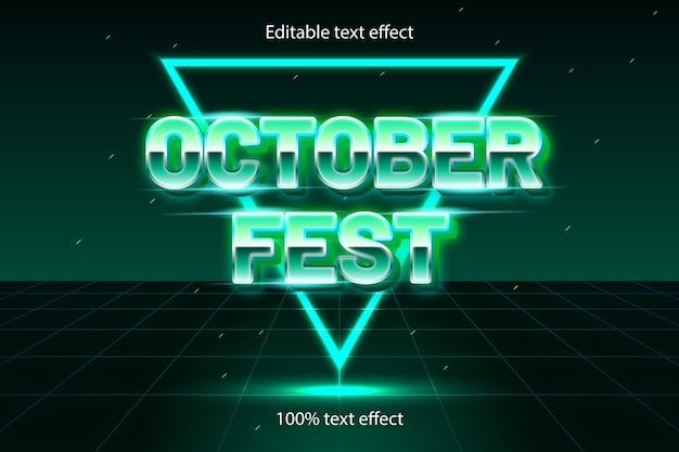 Efeito de texto editável do festival de outubro retrô com estilo neon