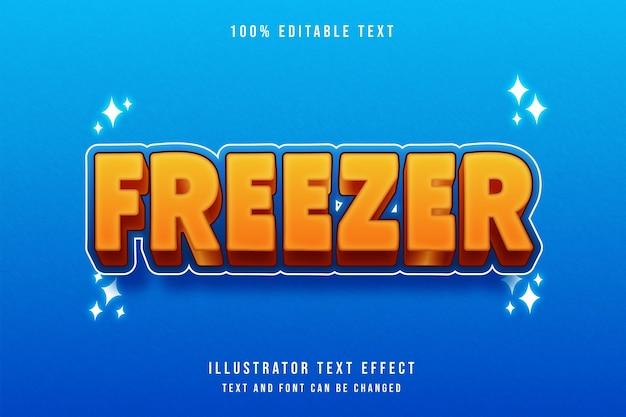 Efeito de texto editável do freezer3d gradação laranja amarelo azul estilo cômico moderno