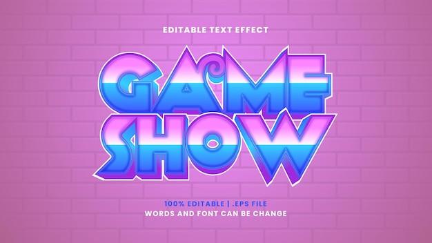 Efeito de texto editável do game show em estilo 3d moderno