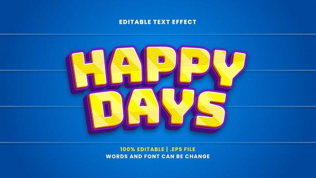 Efeito de texto editável do happy days no moderno estilo 3d