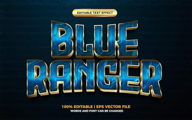 Efeito de texto editável do herói dos desenhos animados 3d blue ranger gold