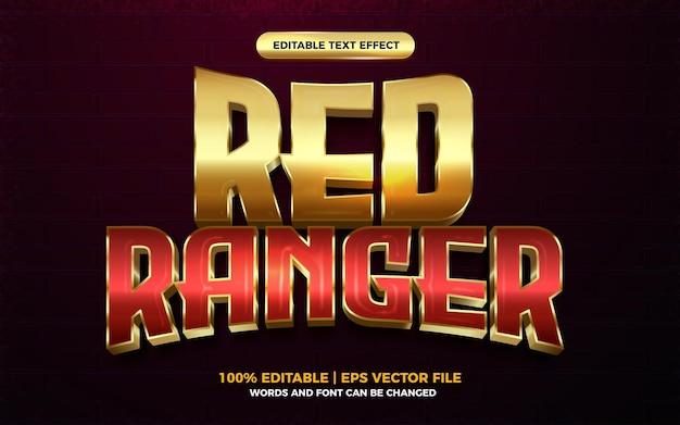 Efeito de texto editável do herói dos desenhos animados 3d ranger vermelho dourado