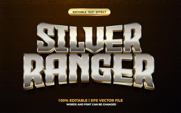 Efeito de texto editável do herói dos desenhos animados 3d silver ranger gold