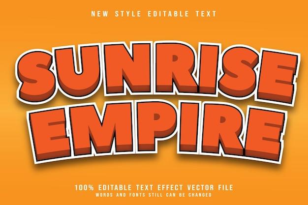 Efeito de texto editável do império do nascer do sol em relevo estilo cômico