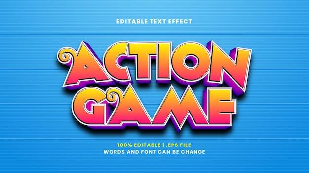 Efeito de texto editável do jogo de ação em estilo 3d moderno