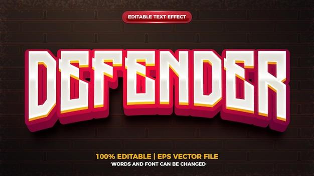 Efeito de texto editável do jogo de desenho animado 3d defender