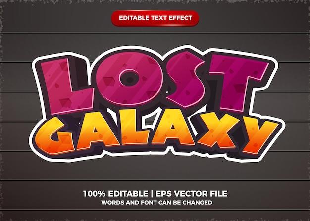 Efeito de texto editável do jogo de galáxia perdida estilo cartoon 3d