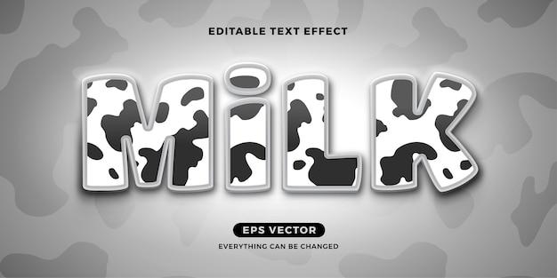 Efeito de texto editável do leite