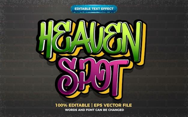 Efeito de texto editável do logotipo do estilo da arte do graffiti no local do céu 3d