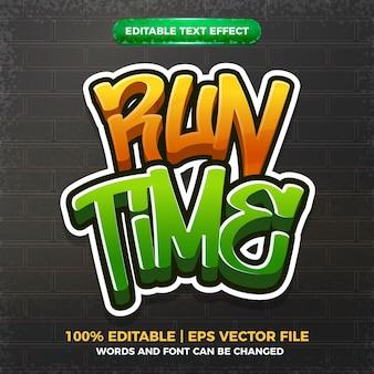 Efeito de texto editável do logotipo do estilo da arte graffiti em tempo de execução 3d