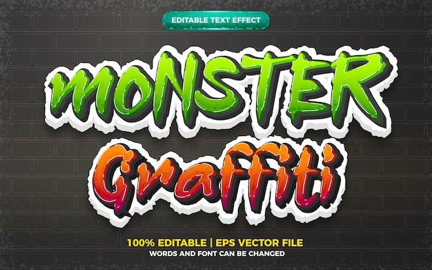Efeito de texto editável do logotipo do estilo da arte monster graffiti 3d