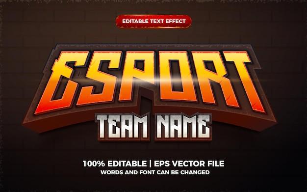 Efeito de texto editável do logotipo do jogo 3d do nome da equipe esport