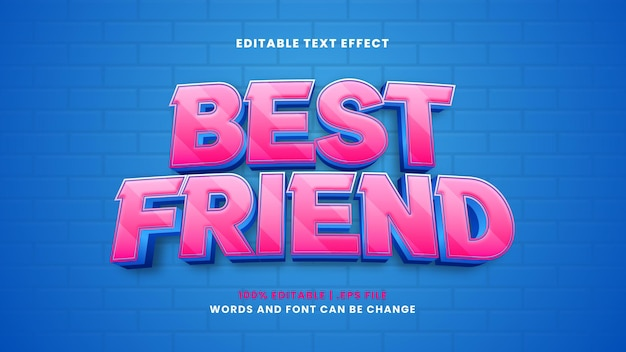 Efeito de texto editável do melhor amigo em estilo 3d moderno