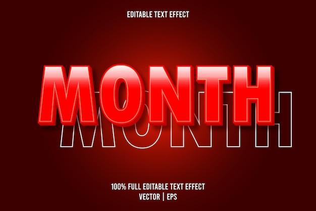 Efeito de texto editável do mês, cor vermelha