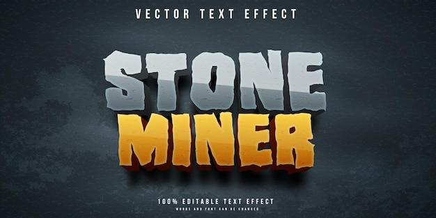 Efeito de texto editável do mineiro de pedra