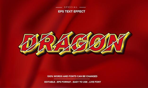 Efeito de texto editável do modelo 3d estilo dragão
