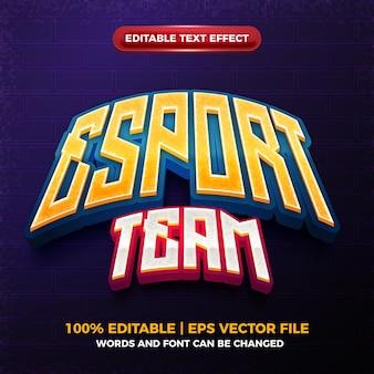 Efeito de texto editável do modelo do logotipo do jogo em 3d do nome da equipe esport