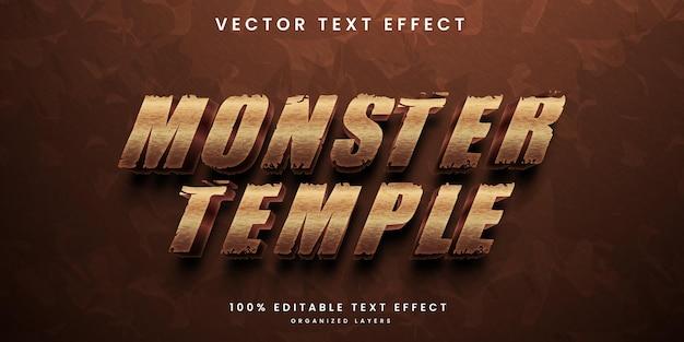 Efeito de texto editável do monster temple