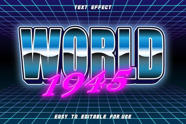 Efeito de texto editável do mundo 1945 em relevo estilo retro