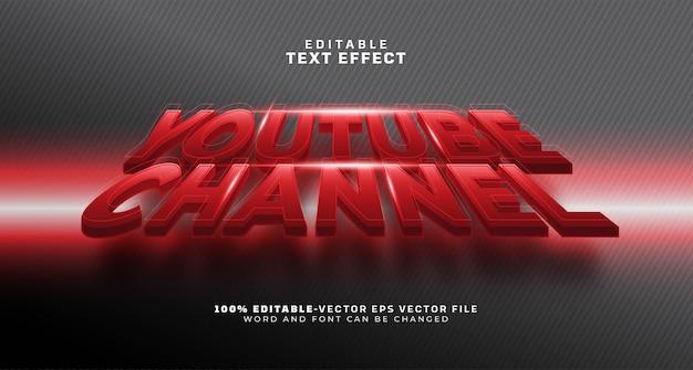 Efeito de texto editável do nome do canal youtuber