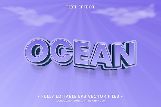 Efeito de texto editável do oceano