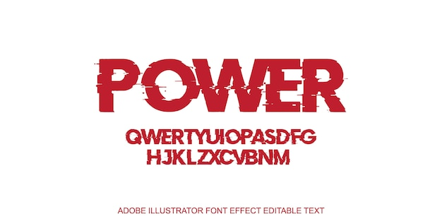 Efeito de texto editável do poder vermelho