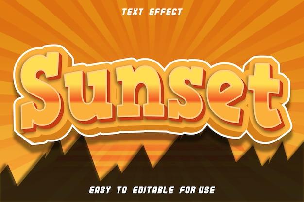 Efeito de texto editável do pôr do sol em relevo estilo quadrinhos