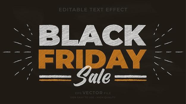 Efeito de texto editável do quadro de giz da tipografia black friday