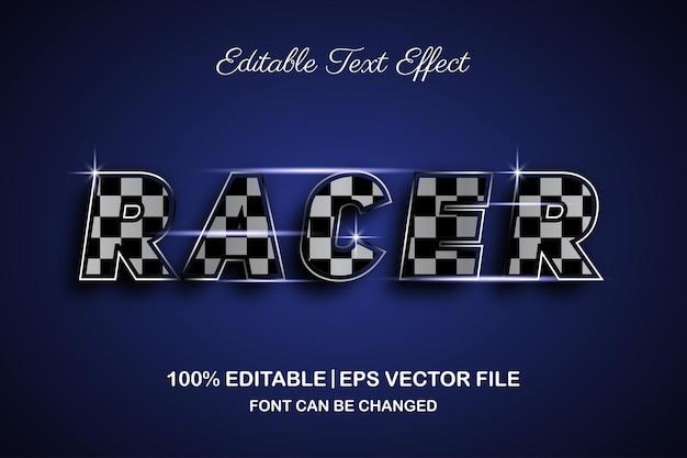 Efeito de texto editável do racer 3d