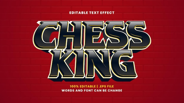 Efeito de texto editável do rei do xadrez em estilo 3d moderno