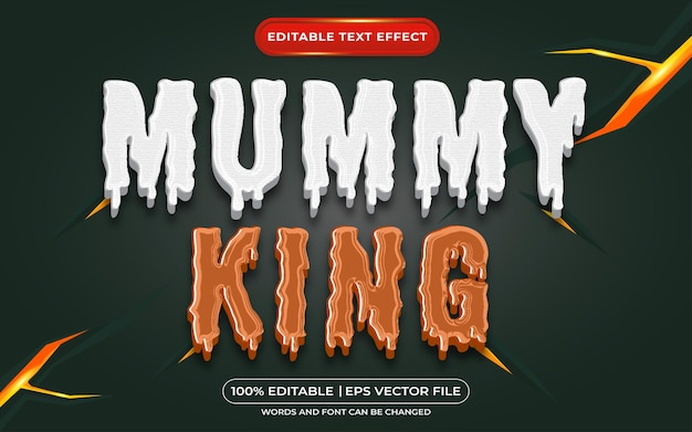 Efeito de texto editável do rei múmia e estilo de texto zumbi