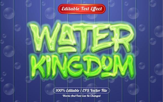 Efeito de texto editável do reino da água - luz e bolha temática