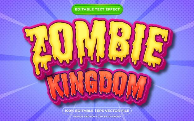 Efeito de texto editável do reino zumbi no halloween e estilo de texto assustador