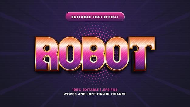 Efeito de texto editável do robô em estilo 3d moderno