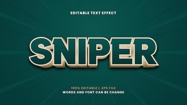 Efeito de texto editável do sniper em estilo 3d moderno