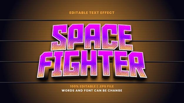 Efeito de texto editável do space fighter em estilo 3d moderno