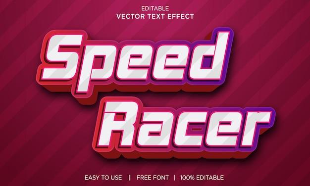 Efeito de texto editável do speed racer com vetor premium