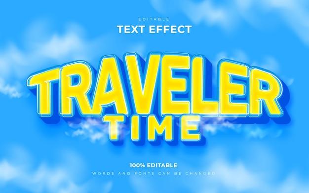Efeito de texto editável do tempo de viagem