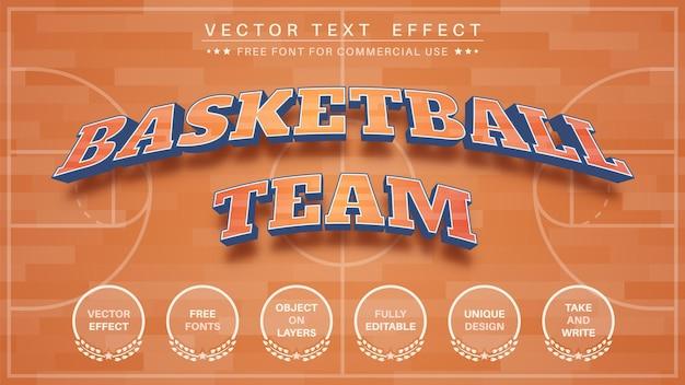 Efeito de texto editável do time de basquete 3d, estilo da fonte