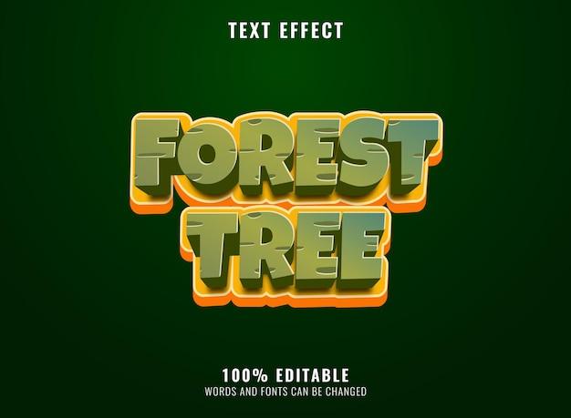 Efeito de texto editável do título do jogo da árvore da floresta da natureza engraçada