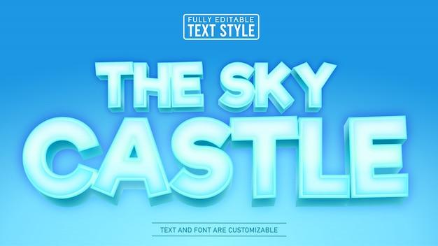 Efeito de texto editável do título do jogo e do filme em 3d ice sky castle